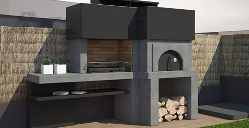 Barbacoa con horno moderna Monaco - Barbacoa amb forn moderna Monaco
