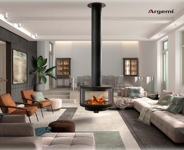 chimenea decorativa funcional de leña Ronde - xemeneia decorativa funcional de llenya Ronde